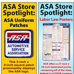 Vertical ads for the Automotive Service Association Online Store.